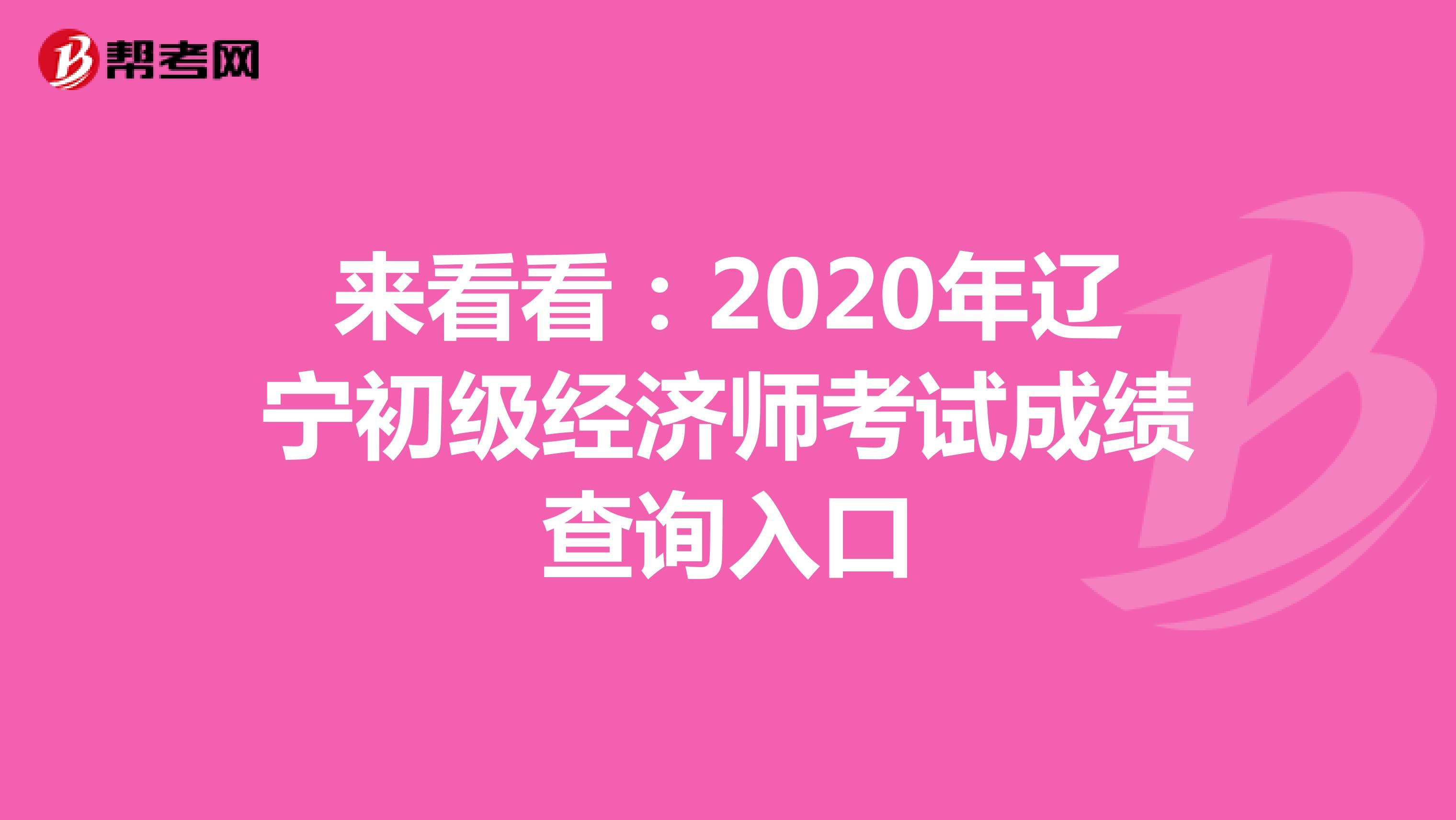 来看看:2020年辽宁初级经济师考试成绩查询入口