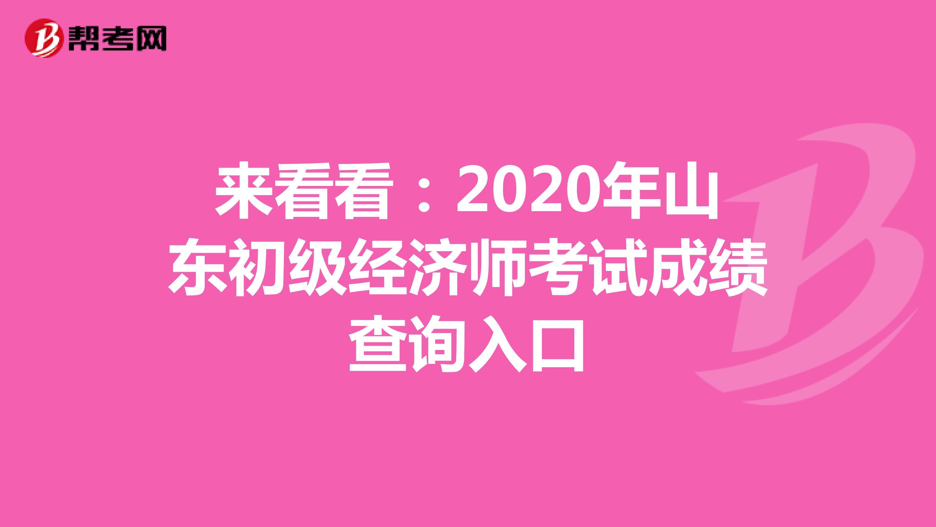 来看看:2020年山东初级经济师考试成绩查询入口
