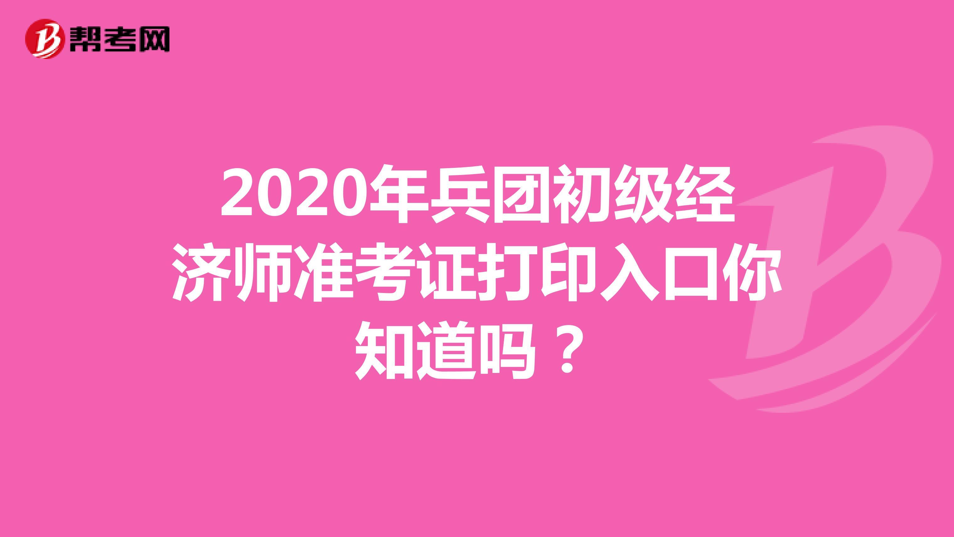 2020年兵团初级经济师准考证打印入口你知道吗?