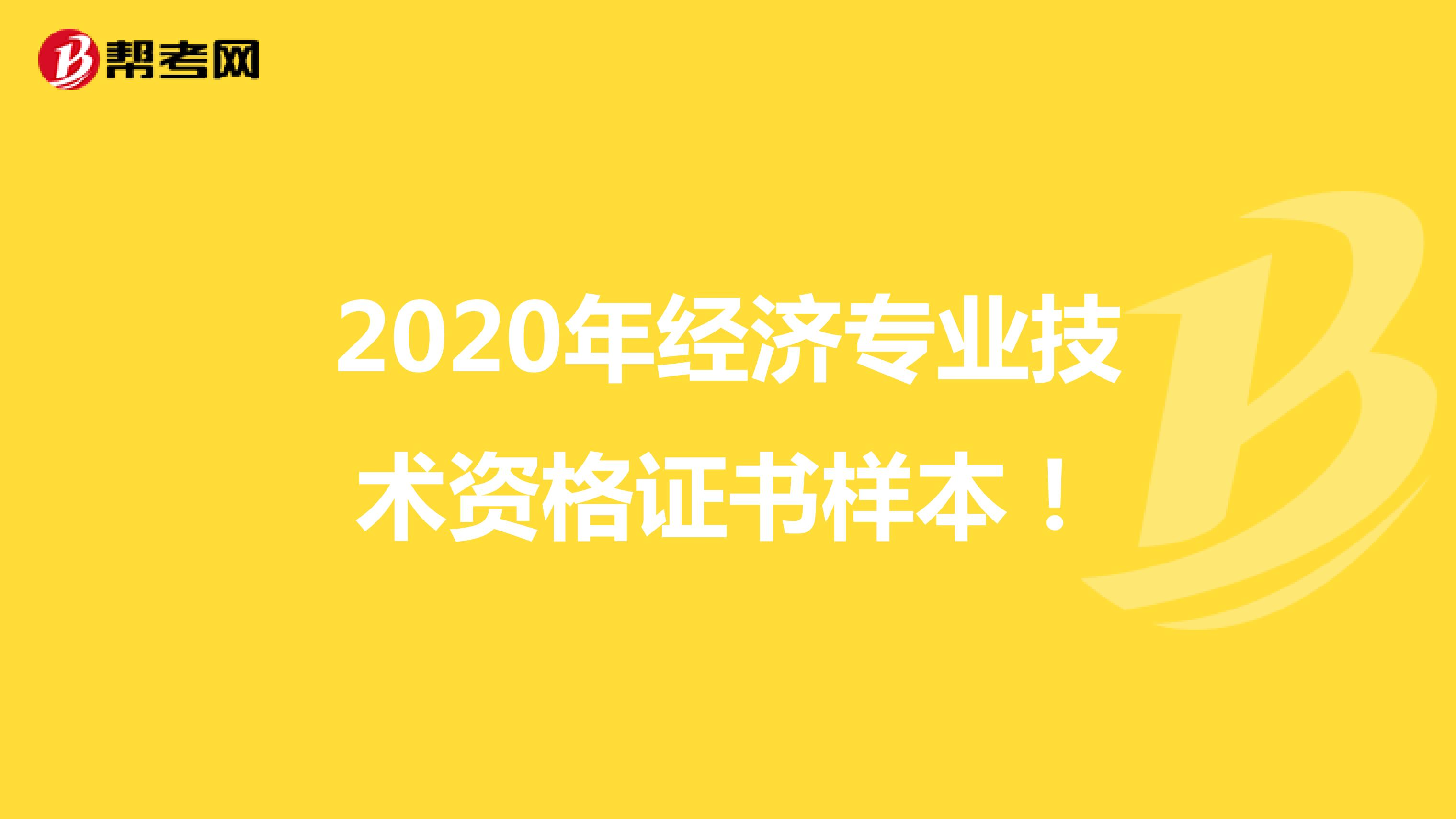2020年经济专业技术资格证书样本!