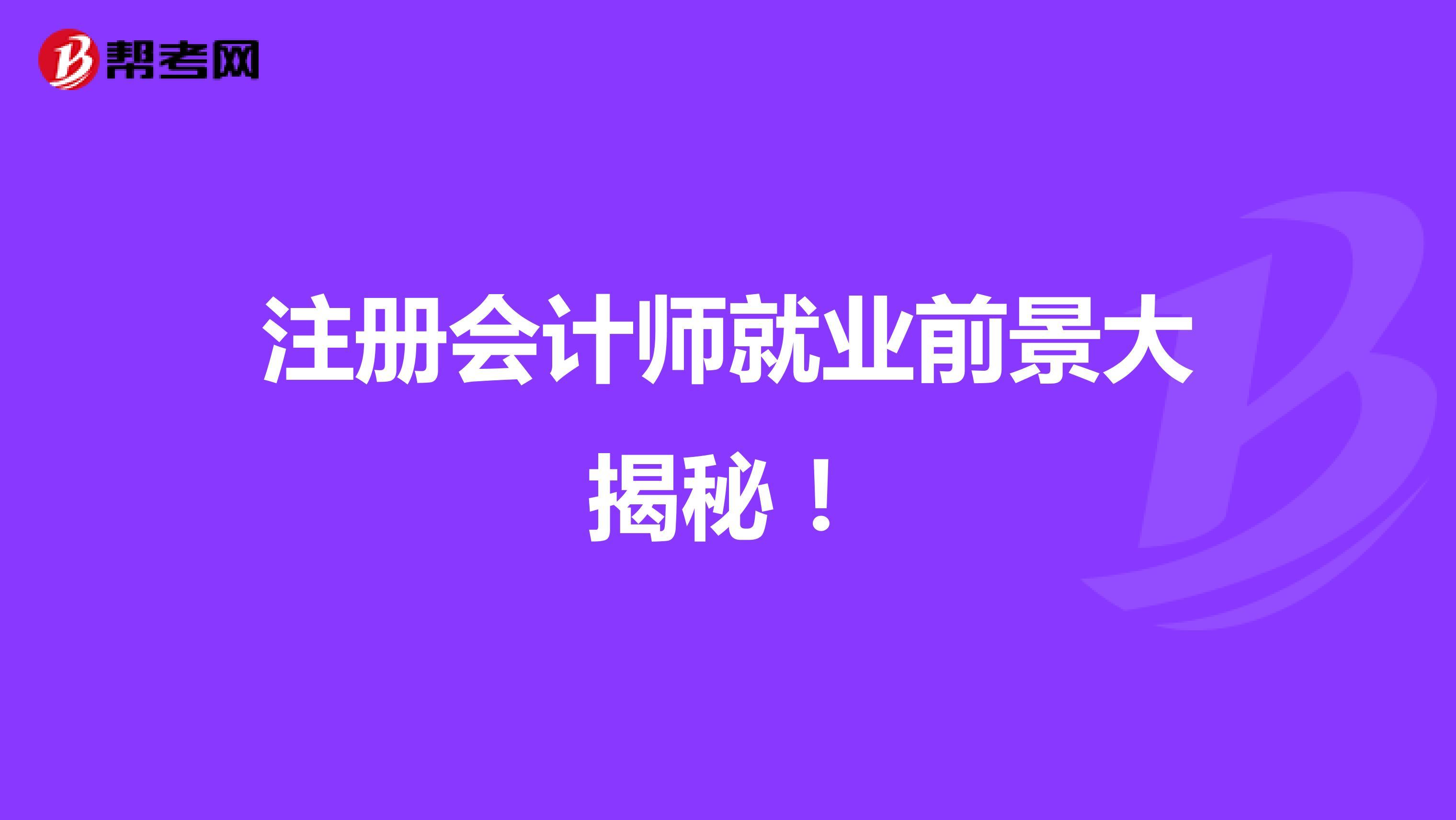 注册会计师就业前景大揭秘!